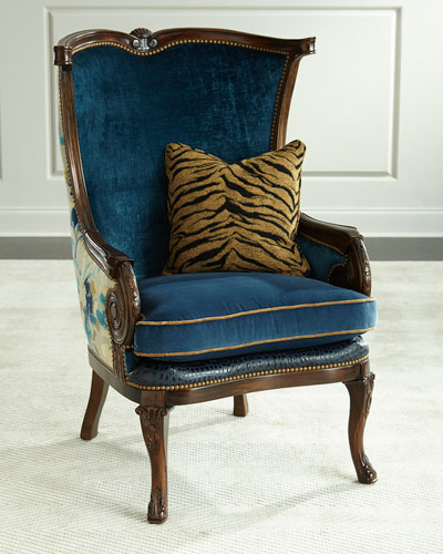 Gannon Wingback Chair  Indigo