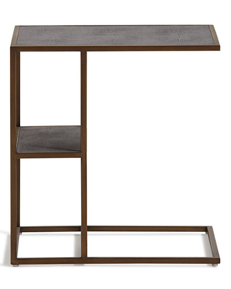 Bon Peyton Faux Shagreen Side Table