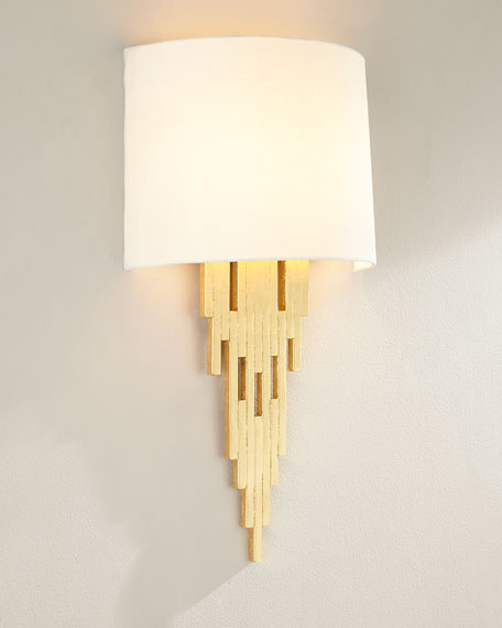 Wall sconces sconces sconce lighting horchow gold leaf tapering sconce aloadofball Image collections