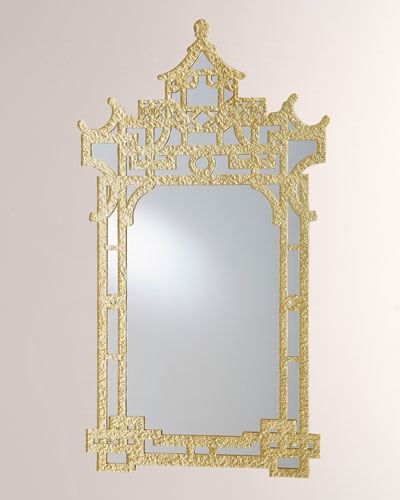 Asian-Inspired Mirror, Gold