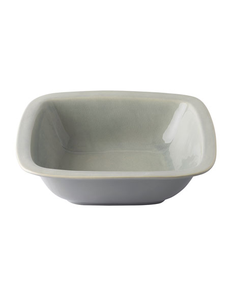 "Puro Mist Grey Crackle 10.5"" Rounded Square Serving Bowl"