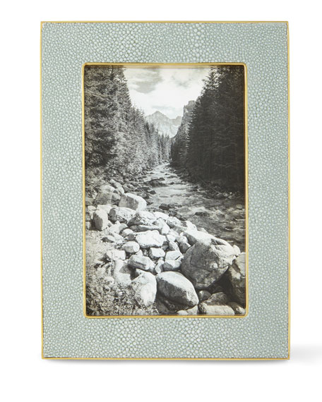 "Mist Classic Faux-Shagreen 4"" x 6"" Picture Frame"