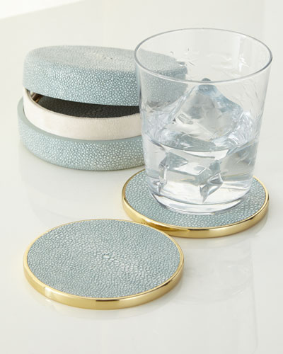 Faux-Shagreen Coaster Set