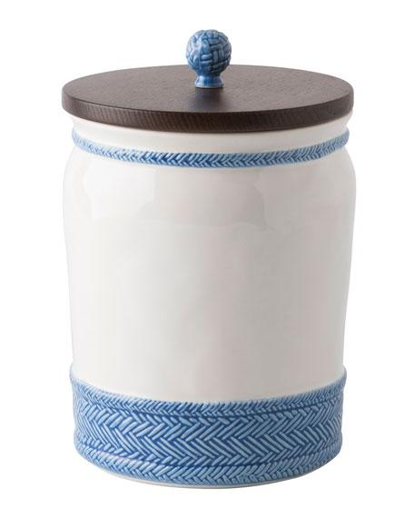"Le Panier White/Delft Blue Canister, 10""T"