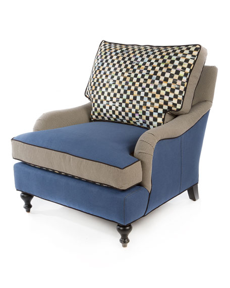 Underpinnings Blue/Checks Lounge Chair