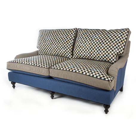 Courtly Check Underpinnings/Lake Loveseat