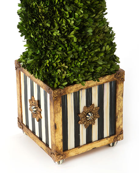 Mackenzie Childs Indoor Outdoor Faux Boxwood Swirl Topiary