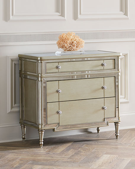 Hughe Mirrored Three-Drawer Chest