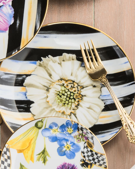 MacKenzie-Childs The Bride Thistle & Bee Salad Plate