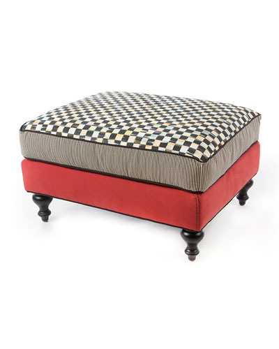 Courtly Check Underpinnings/Tomato Ottoman