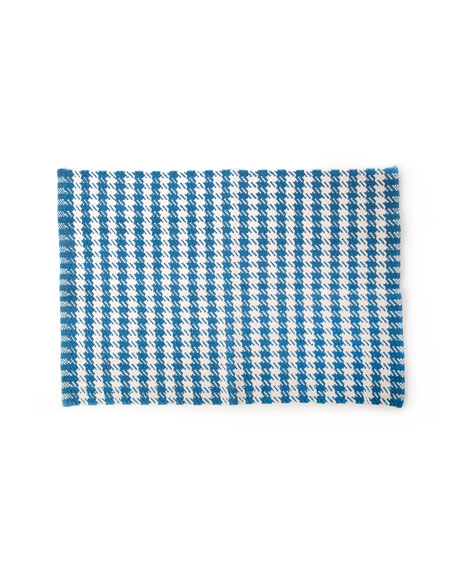 Oxford Blue Houndstooth Scatter Rug