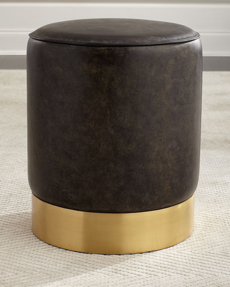 Paulie Round Leather Ottoman