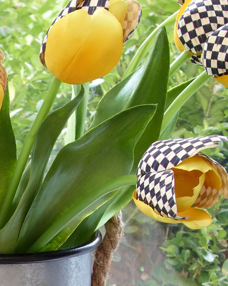 MacKenzie-Childs Courtly Check and Yellow Faux Tulip