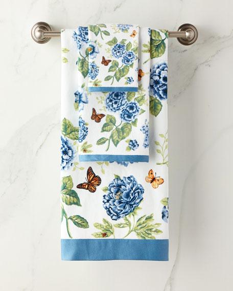 Blue Floral Garden Fingertip Towel