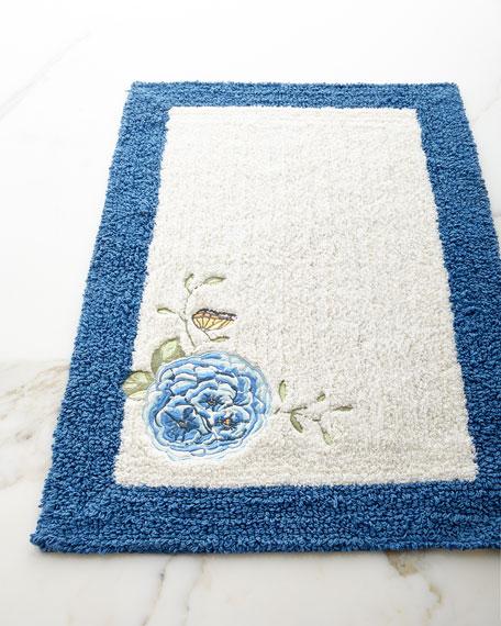 Blue Flower Garden Bath Rug
