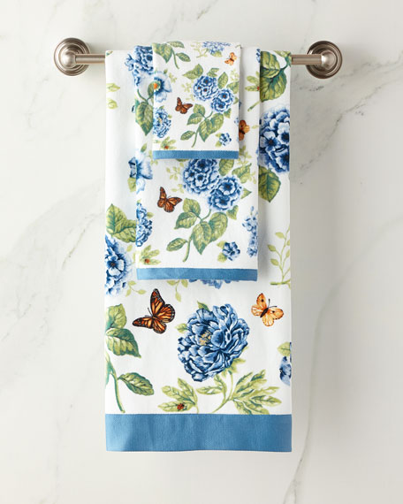 Blue Flower Garden Bath Towel