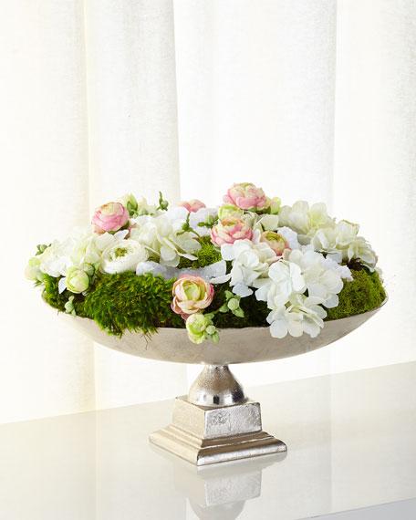 Preserved Flowers in Silvertone Urn