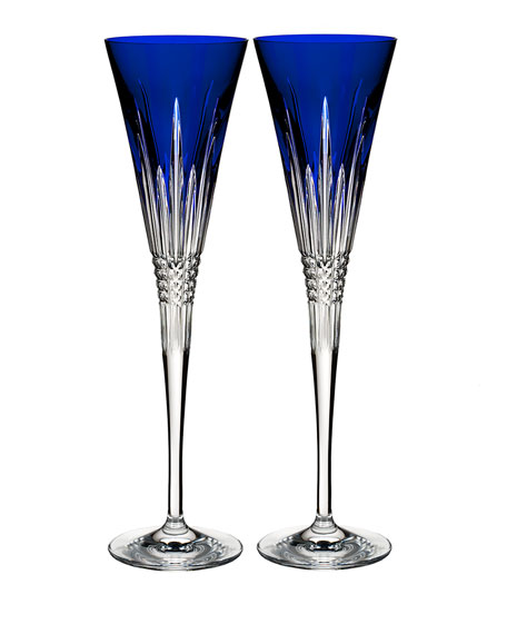 Set of 2 Lismore Diamond Toasting Flutes