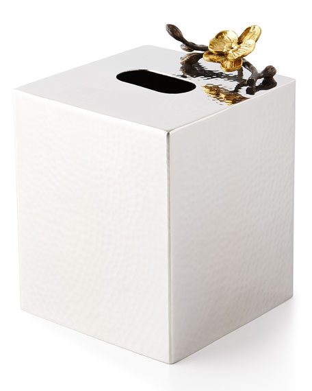Gold Orchid Tissue Box Cover