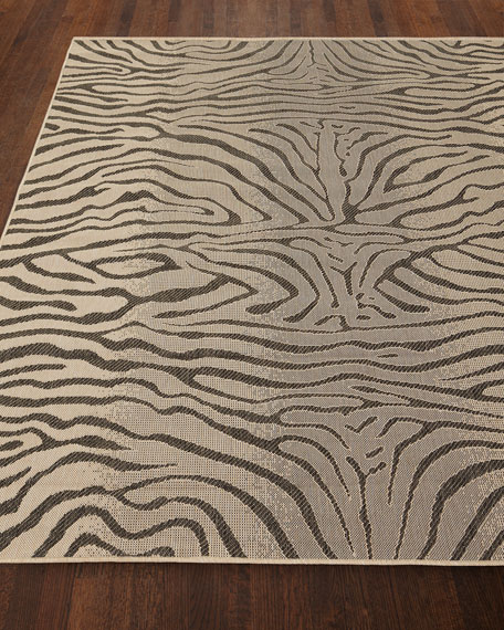 "Zebra Terrace Indoor/Outdoor Rug, 4'10"" x 7'6"""