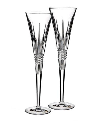 Set of Two Lismore Diamond Flutes