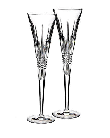 Set of Two Lismore Diamond Flutes