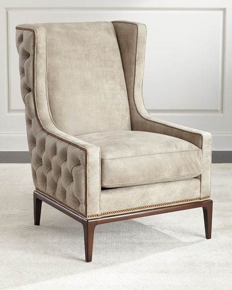 Beau Ambella Idris Tufted Back Leather Wing Chair