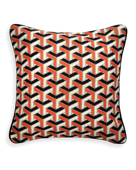Orange 3D Bargello Maze Throw Pillow