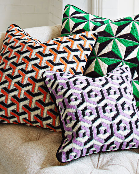 Orange 3D Bargello Maze Throw Pillow