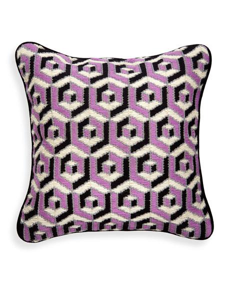 Purple 3D Bargello Hex Pillow