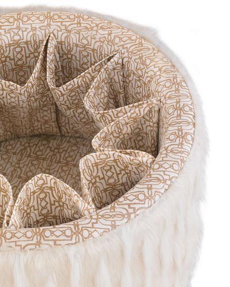 Ivory Round Storage Ottoman