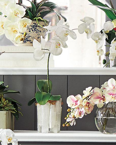 Selenite Orchid Faux Floral Arrangement