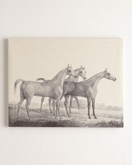 """Three Horses"" Print on Canvas, 62""W x 52""T"