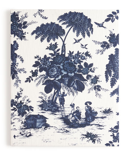 """""""Blue Toile"""" Print on Canvas, 61""""T"""