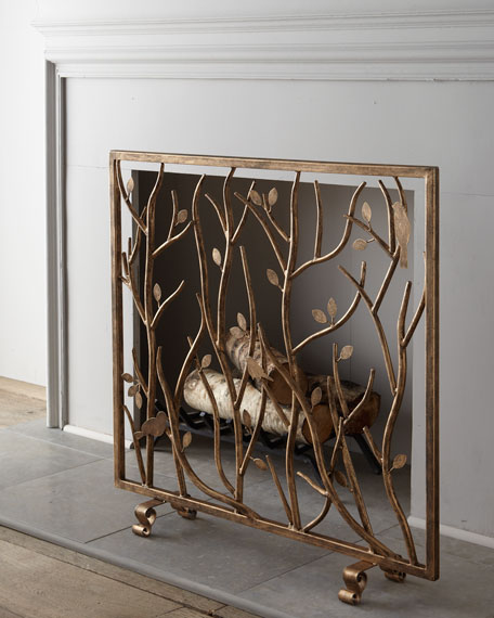 Dr. Livingston Bird and Branch Fireplace Screen