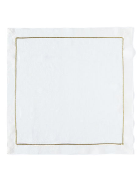 White/Gold Linen Napkin, Set of 2