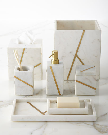 Kassatex Marble Brass Vanity Accessories
