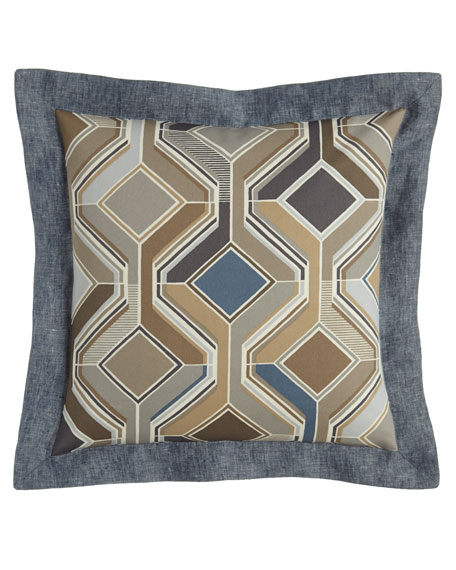 "Maze Geometric Pillow, 18""Sq."