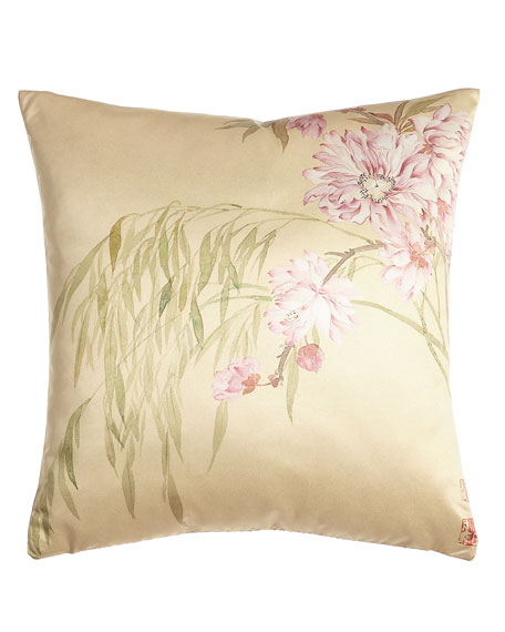 """Pink Blossoms Pillow, 20""""Sq."""