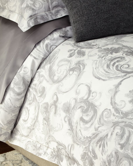 Full/Queen Gray Scroll Duvet Cover