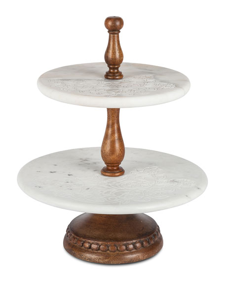2-Tier Floral-Etched Marble Server