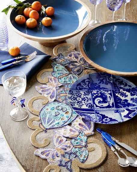 Deep Blue Wood & Enamel Pedestal Bowl