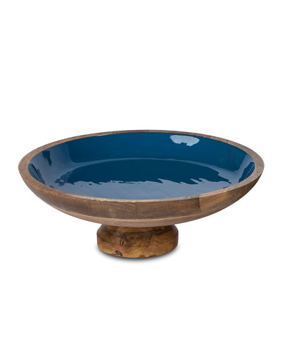 Deep Blue Wood & Enamel Pedestal Bowl