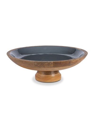 Charcoal Wood & Enamel Pedestal Bowl