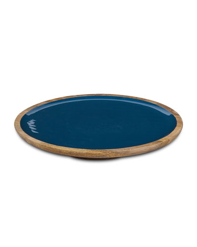 Deep Blue Wood & Enamel Platter