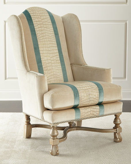 Massoud Bacall Colorblock Wingback Chair