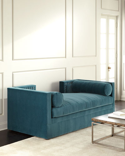 Blue Lagoon Velvet Tufted Daybed