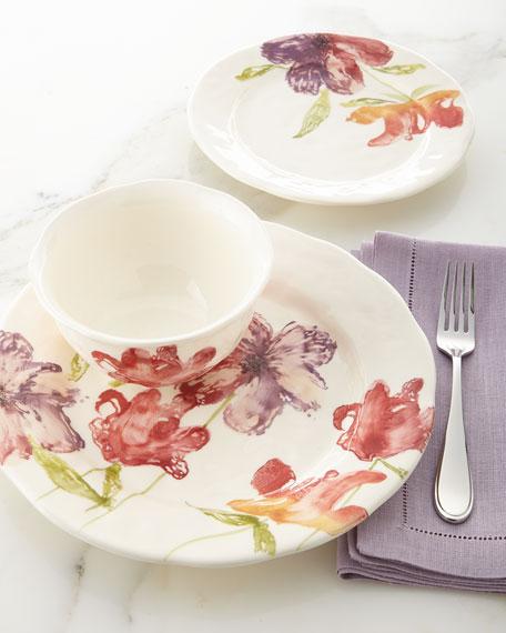 12-Piece Pink Floral Dinnerware