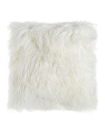 White Tibetan Lamb Pillow  26Sq.
