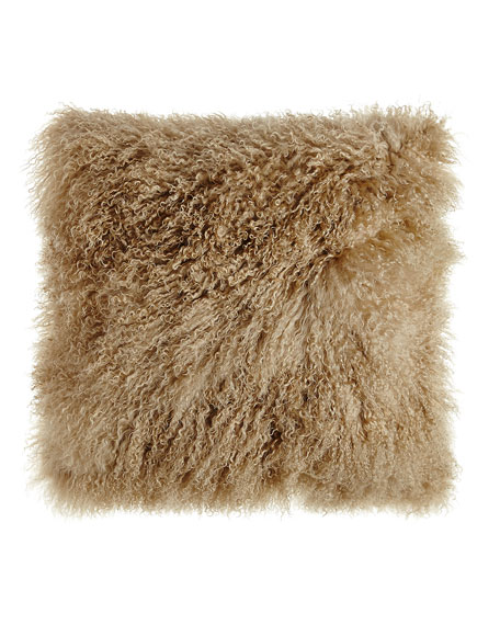"Champagne Tibetan Lamb Pillow, 26""Sq."